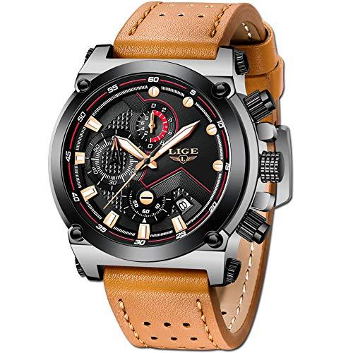 LIGE Relojes Hombre Deporte Impermeable Cronógrafo Hombre Moda Casual Analogicos Cuarzo Relojes Marrón Cuero Relojes