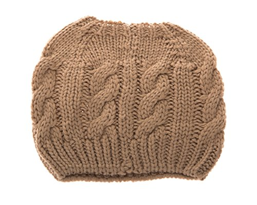 Women Crochet Ponytail Messy High Bun Beanie Winter Hat, Slouchy Cable Knit Twist (Olive)