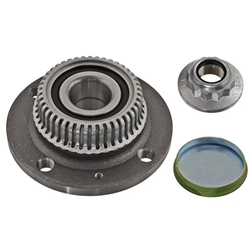 febi bilstein 28168 Radlagersatz mit ABS-Impulsring, Achsmutter und Schutzkappe (Hinterachse beidseitig) Radlager, 1 Stück