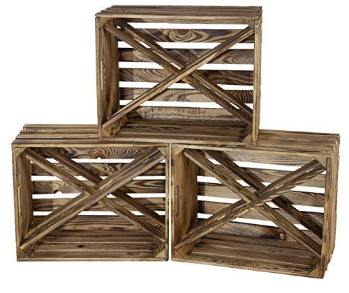 Moooble Barschrank aus geflammten Holz mit 4 Fächern für Spirituosen | NEU | 50x38x27cm | Weinregal Holz, Flaschenregal, X Form (2)