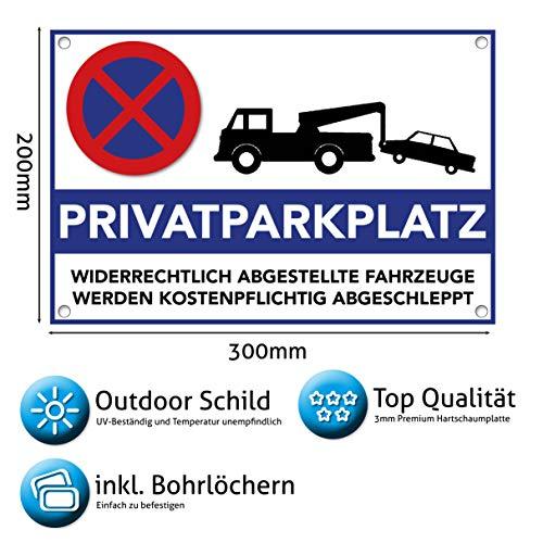 Privatparkplatz Schild Hinweisschild 300 x 200 x 3mm (Privat Parkplatz freihalten - parken verboten) - Widerrechtlich abgestellte Fahrzeuge Werden kostenpflichtig abgeschleppt
