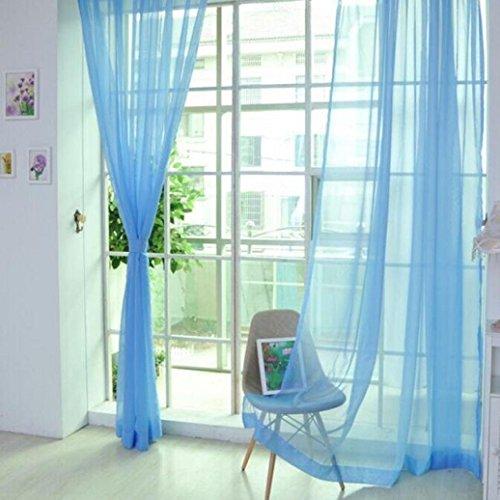pu ran Lot de 2 rideaux de porte en tulle de couleur unie - Taille M (bleu ciel)