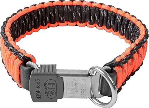 Sprenger Hundehalsband aus stabilem Paracord Nylon mit Edelstahl Clic Lock Verschluss I wasserabweisende Halskette, reflektierend, langlebig 45 cm, orange