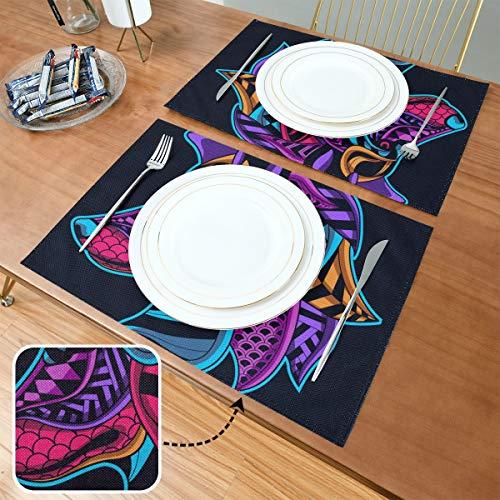 Set de Table Neon Art Wolf, Tapis de Table antidérapants résistants à la Chaleur, adaptés à la Table à Manger à la Maison, au Bureau et à l'extérieur,