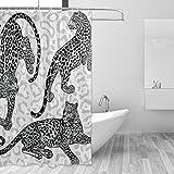 Polyester-coosun Leoparden Duschvorhang Set-wasserabweisend Badezimmer Duschvorhang Set Deko Home mit Haken, 60W x 72L Zoll