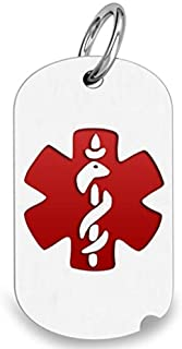 PicturesOnGold.com 14K White Gold Dog Tag Medical Pendant W/Red Enamel - 3/4 Inch X 1-1/4 Inch