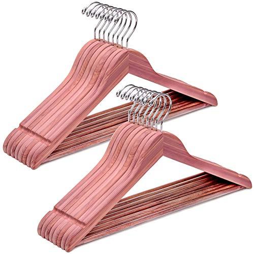 Amber Home Kleiderbügel aus amerikanischem rotem Zedernholz, aromatisch, robust, platzsparend, mit Kerben und Hosenleiste, natürlich, glatt für Erfrischung der Nähe, 16 Stück