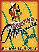 踊る人魚のブリキのサインヴィンテージノベルティ面白い鉄の絵の金属板