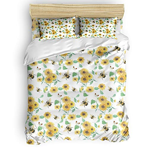 4 Pieces Luxury Duvet Cover Set Sunflower Bees for Kids/Girl/Women/Adults White Floral Breathable Bedding Comforter Cover Sets with Zipper, 4 Corner Ties Queen