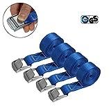 Cinghia di fissaggio Cinghie di tensione - blu - 2,5m 4m 6m - diverse quantità, sicura del carico resistenza fino a 250 kg DIN EN 12195-2, 4 pezzi 2.5 cm x 2.5 m