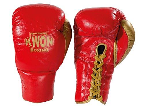 Kwon Boxhandschuhe Leder mit Schnürung rot/gold