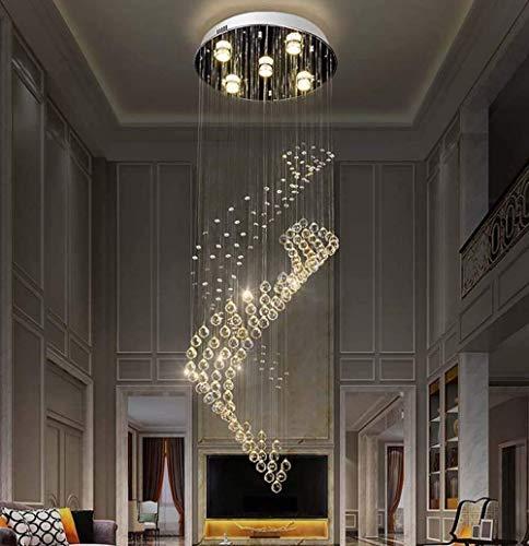 Lámpara de araña, lámpara de araña de cristal Led Creativo Simple Circular Escalera de caracol doble Lámpara de sala de estar Diámetro largo * Altura 400 1200Mm (5 cabezas) Decoración: Amazon.es: Iluminación
