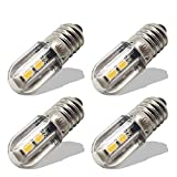 Ruiandsion E10 Bombilla LED 220V 230V AC Luz indicadora LED de ahorro de energía E10 Base de tornillo 3030 4SMD Chipsets Bombilla LED de actualización, Amarillo (Paquete de 4)