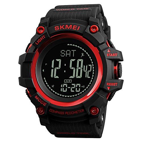 Mettime - Reloj de Pulsera multifunción para Hombre, 50 m, Resistente al Agua, con brújula, Esfera Grande, Reloj de Alarma de Hora del Mundo y luz
