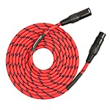 SPEAKFRIENDS 15ft Microphone Cable Professional 3-PIN Balanced XLR Male to XLR Female Mic Cable(15 Feet, Red)