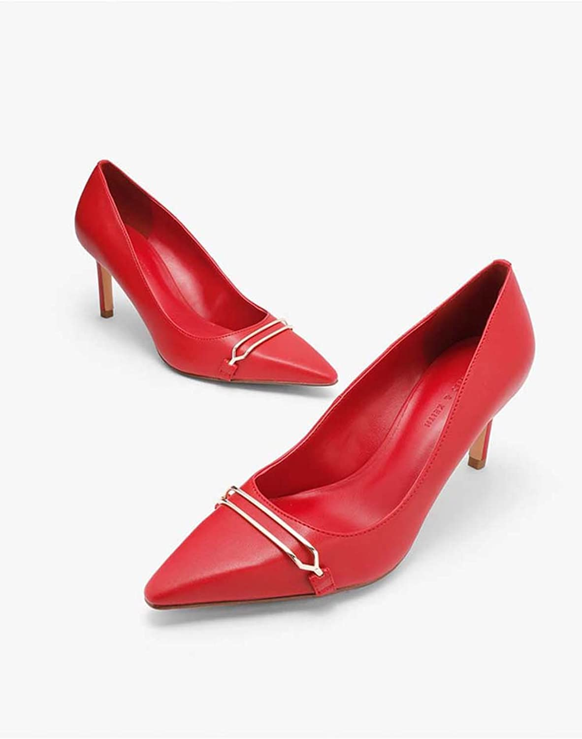 Slim and Professional Women Sandals, Single shoes, Pointed shoes, PU Leather, High Heels,Red,36