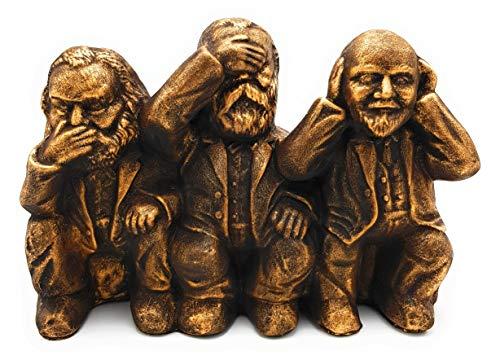 hochwertig und humorvoll Karl Marx Engels Lenin massive Skulptur Handmade Wohnzimmer Deko Bronze-Gold antik Vintage Figuren Dekoration für Wohnung Geschenkidee DDR Produkte Nostalgie