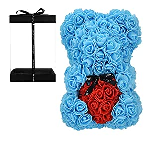 vdfeas Birthday Gift for Women Rose,Rose Flower Bear – Rose Teddy Bear – – Gift for mom, Girlfriend Gifts, Gifts for Girls & Bridal Showers – w/Clear Gift Box