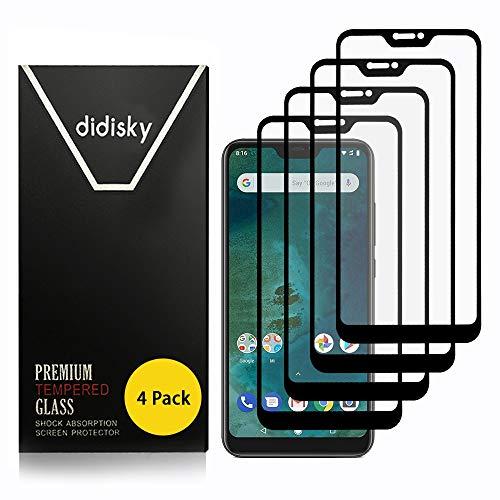 Didisky Vetro Temperato per Xiaomi Mi A2 Lite, [ 4 Pezzi ] Pellicola Protettiva Copre Assolutamente Lo Schermo, Compatibile con la Cover, Trasparente (Nero)