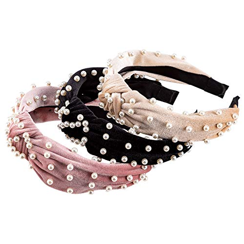 AIEX 3 Stück Perlen Haarreif Damen - Knoten Haarbänder Samt Stirnband Elastische Haarreif Stilvolle Haarschmuck für Mädchen und Frauen - Schwarz, Beige, Rosa