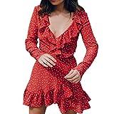Kolylong Kleid Damen Frauen Elegant V-Ausschnitt Langarm Kleid Vintage Polka Dots Mini Kleid Festlich Chiffon Kleider Sommer Strandkleid Bodycon Party Kleid Abendkleid Bluse Top (S, Rot)