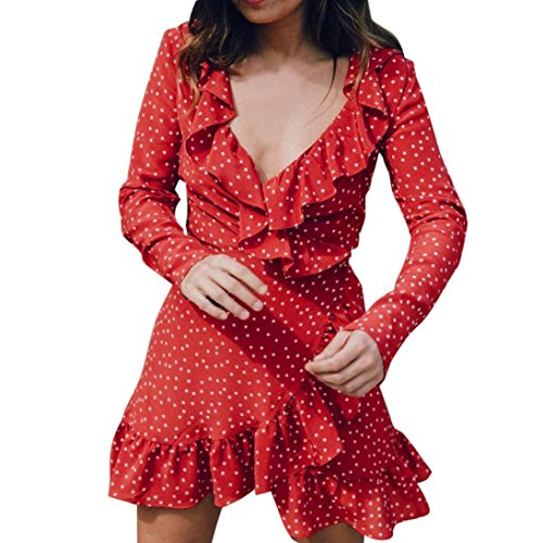 Kolylong Kleid Damen Frauen Elegant V-Ausschnitt Langarm Kleid Vintage Polka Dots Mini Kleid Festlich Chiffon Kleider Sommer Strandkleid Bodycon Party Kleid Abendkleid Bluse Top (L, Rot)