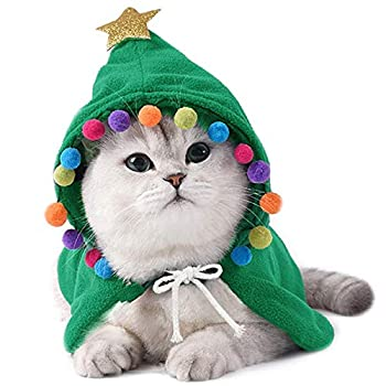 ANIAC Pet Christmas Costume Puppy Xmas Cloak with Star and Pompoms Cat Santa Cape with Santa Hat Party Cosplay Dress for Cats and Small to Medium Sized Dog  Large Green