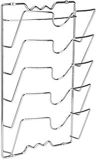 Organizador Tapas de Pared, Estante de Tapa de Olla Soportes de Metal para Almacenamiento con 5 Apartados Anticorrosión Ahorra Espacio Montaje en Pared/Puerta, 43.4 × 27.8 × 9.7 cm