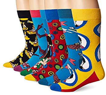 Happy Socks Beatles 50th Anniversary LP Collector s Box 6-Pack Blue Combo Men s Shoe Size 8-12