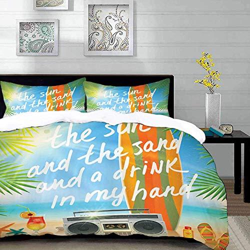 ropa de cama - Juego de funda nórdica, presupuesto, diseño retro Tropical Beach con tabla de surf Hojas de palma Chanclas y gafas de sol, Multicol, Juego de funda nórdica de microfibra con 2 fundas de