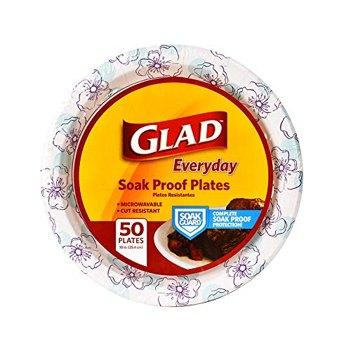 Glad Round Disposable Paper Plates for All Occasions | New & Improved Quality | Soak Proof, Cut Proof, Microwaveable Heavy Duty Disposable Plates | 10' Diameter, 50 Count Bulk Paper Plates