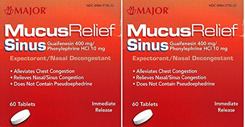 MAJOR Mucus Relief Sinus Congestion Tablets 60 ea (Pack of 2)