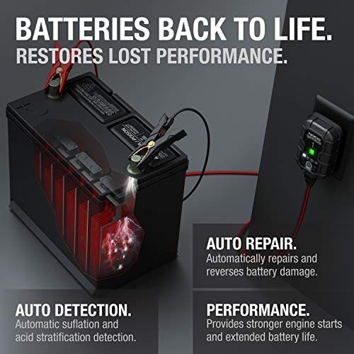 NOCO GENIUS1, 1-Amp Fully-Automatic Smart Charger, 6V and 12V Battery Charger, Battery Maintainer, Trickle Charger, and Battery Desulfator with Temperature Compensation