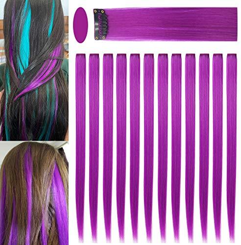 Fcysws 12 piezas extensiones de cabello de colores 21 pulgadas peluca de pelo liso sintético resistente al calor postizo mujeres niñas regalo de fiesta (Morado)