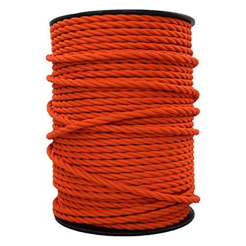 smartect Lampenkabel aus Textil in der Farbe Orange - 10 Meter Textilkabel - 3-Adrig (3 x 0.75mm²) - Textilummanteltes Stromkabel für DIY Projekt