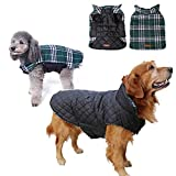 Dog Coat Warm Winter Coats for Dog Waterproof Windproof pet Jacket Grid Plaid Reversible Coat Size M to XXXL Available(Green,Tag L=US M)