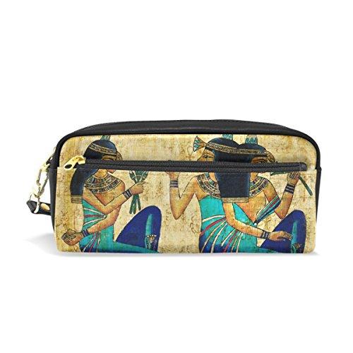 COOSUN Pergamino Antiguo Egipto portátil de Cuero de la PU Caja de lápiz de la Pluma de la Escuela Bolsas Bolsa de la Caja Fija de Gran Capacidad Maquillaje Bolsa cosmética Grande