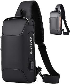 SanDoll 人気 バッグ メンズ ワンショルダーバッグ 大容量 撥水 盗難防止ロック カジュアルバッグ 斜め掛けバッグ