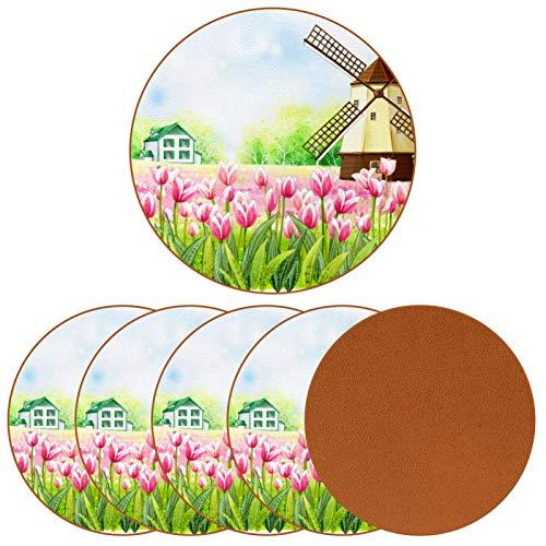 BENNIGIRY Molino de Viento de Flores Posavasos de Cuero Tapetes Redondos Resistentes al Calor para Tazas Taza de café Tapetes Individuales para Tazas de Vidrio, 6 Piezas