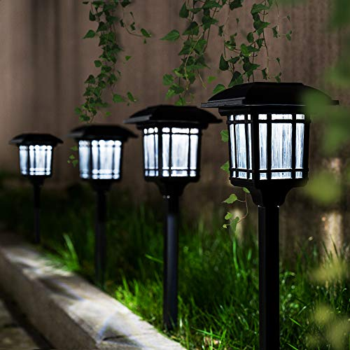 GIGALUMI Solar Path Lights 8 Pack, Solar Powered Garden Lights Outdoor, Bright Solar Yard Lights Waterproof for Landscape, Lawn, Pathway, Walkway and Driveway (Cold White)