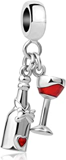 Sparkling Wine Bottle&Glass Cup Charms Red Wine Lover Bead fit Pandora Charm Bracelets