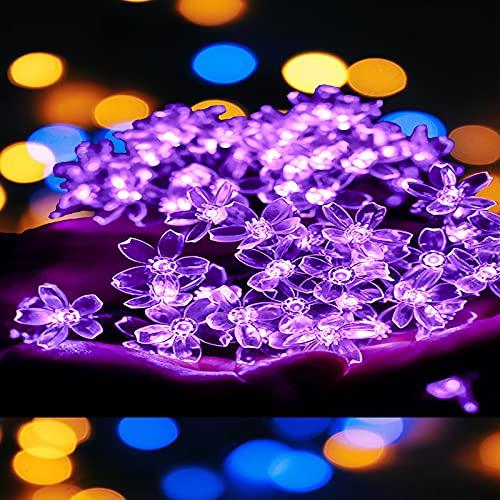 Cadena de Luces solares,50 LED 8 Modos IP65 Impermeables LED Flores Luces de Cadena Luces de Hadas Flor Solar para Exteriores, Jardines, Caminos, Patios, Vallas, Bodas, decoración navideña(Púrpura)