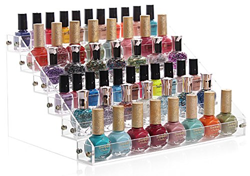 Sooyee Acrylic 6 Layer Nail Polish Rack Tabletop Display Stand on the Table or Desk Holds Up 72 Bottles,Clear 6...