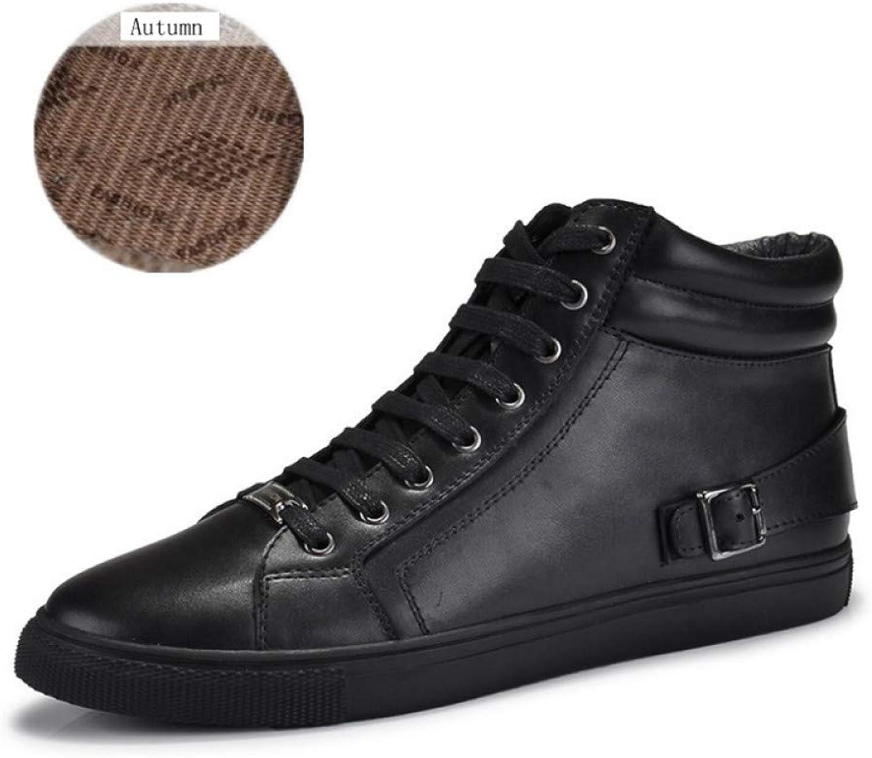 FHCGMX Handarbeit aus echtem Leder Stiefel Warm Plus Größe Herren Winterschuhe Vollnarbenleder Super Warm Herren Winterschuh