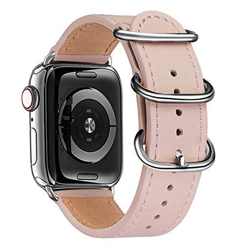 BesBand Armband Kompatibel mit Apple Watch Armband 38mm 40mm 42mm 44mm,Top Leathe Ersatz-Uhren armbänder für das iWatch Band Serie 6/5/4/3/2/1,SE,Edition Frauen Männer(38mm 40mm,Rosa Sand&Silber)