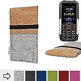 flat.design Handy Hülle SAGRES für Cyrus cm 16 handgefertigte Handytasche Filz Tasche Schutz Case fair Kork