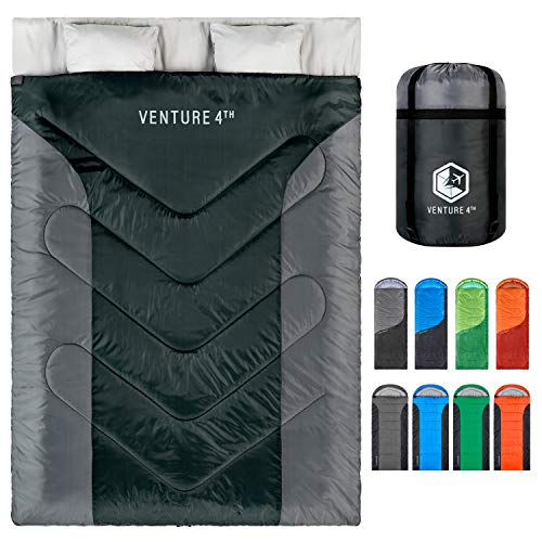 Double 3-Season Sleeping Bag, Queen Size – Lightweight, Comfortable, Water Resistant, Backpacking Sleeping Bag for Couples – Ideal for Hiking, Camping & Outdoor Adventures – Black/Silver