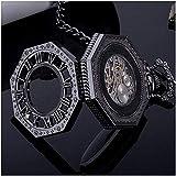 SKYEI Reloj de Bolsillo Elegante clásico.Reloj de Bolsillo Negro, Bronce Industrial Vintage Tallado, Collar Colgando Reloj Pareja Mesa, Reloj Antiguo,Punk
