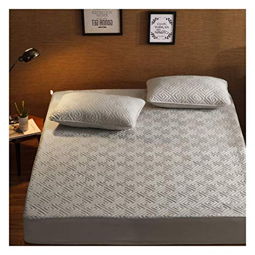 YWYW Queen Quilted Padded Mattress Cover with Elastic Band Breathable Mattress Cover suitable for 2-6 inch deep mattress topper, gray, 90x200 cm (35x79 inch)