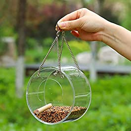 Greyghost Pet Bird Acrylic Hanging Food Container Bird Feeder With Suction Cup Triangl for Outdoor Indoor
